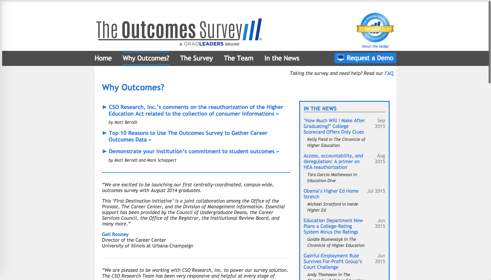 The Outcomes Survey Website