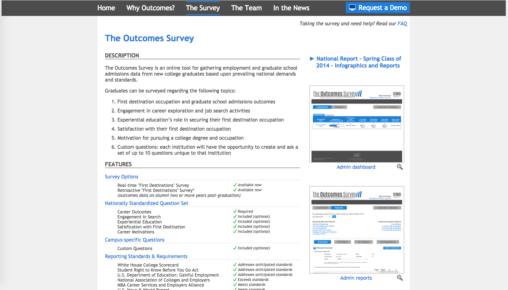 The Outcomes Survey Website