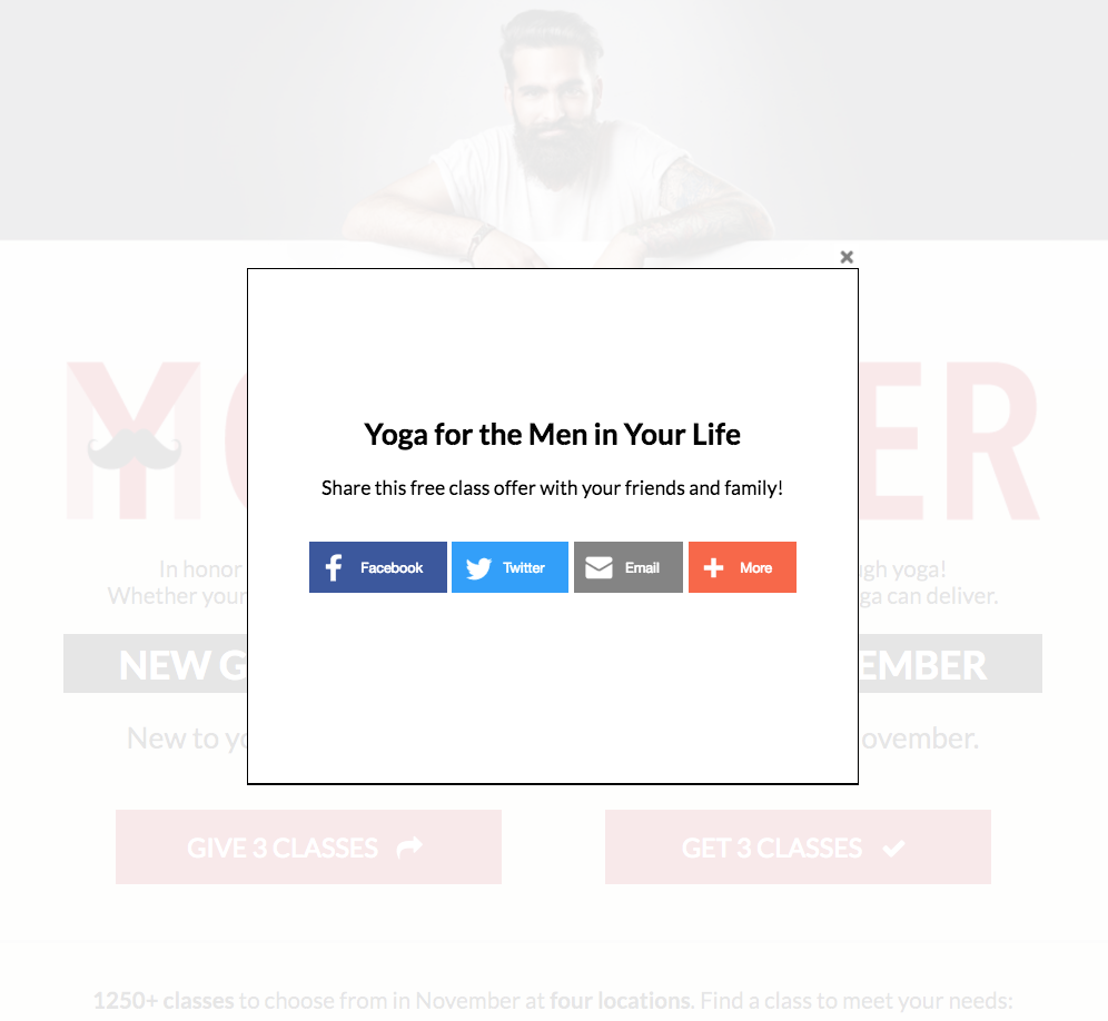 Movember Landing Page - social share