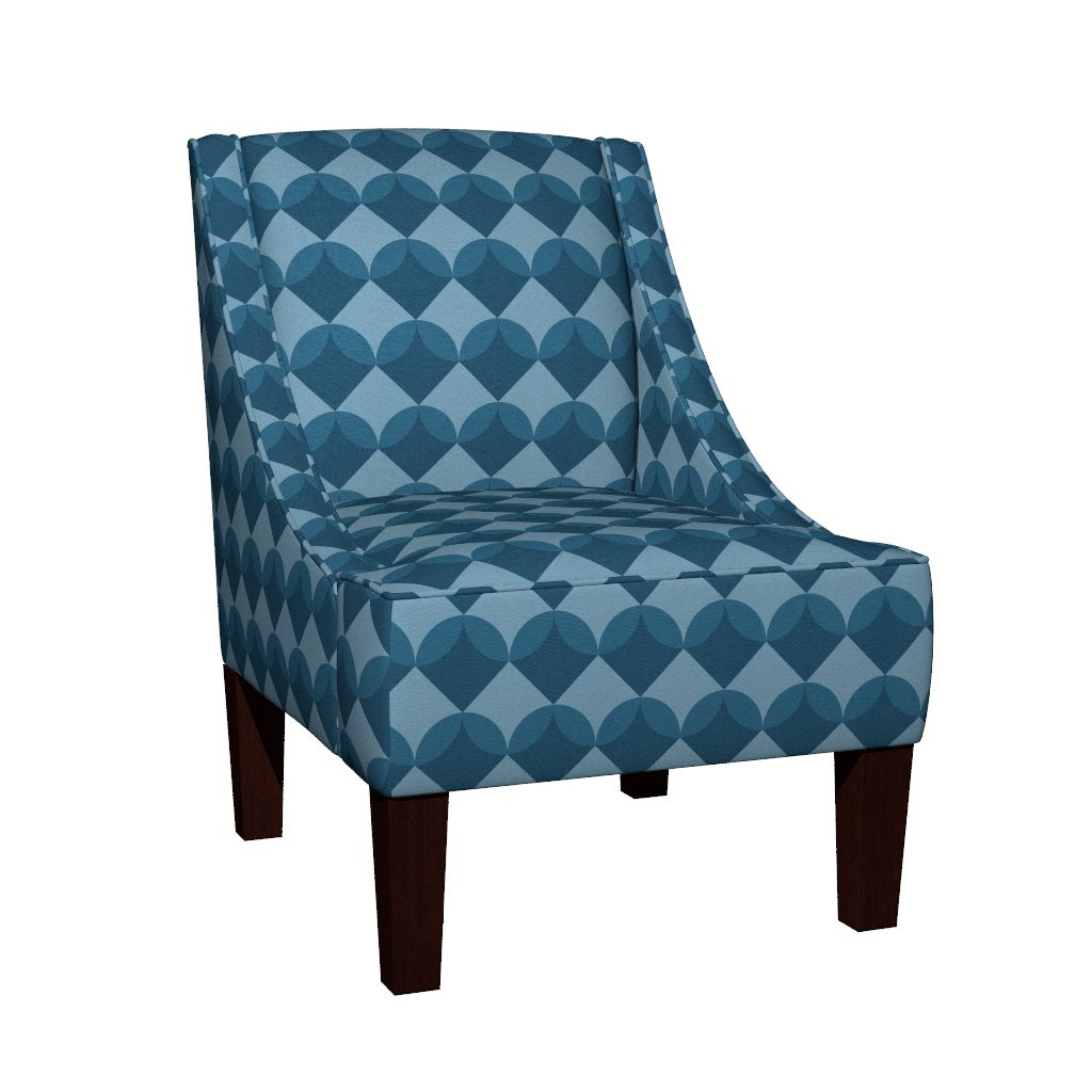 Modern Ocean: Shells (Blue) fabric design on chair
