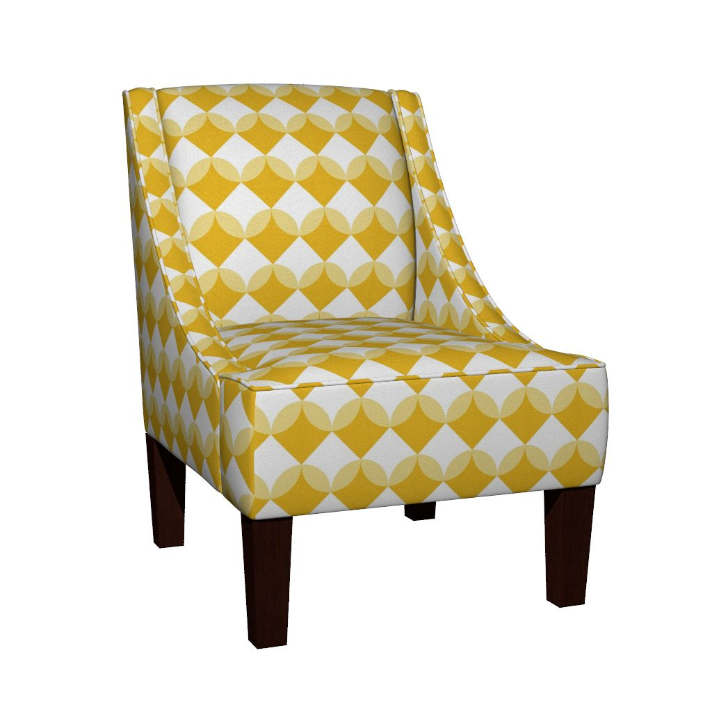 Modern Ocean: Shells (Yellow) fabric design on chair