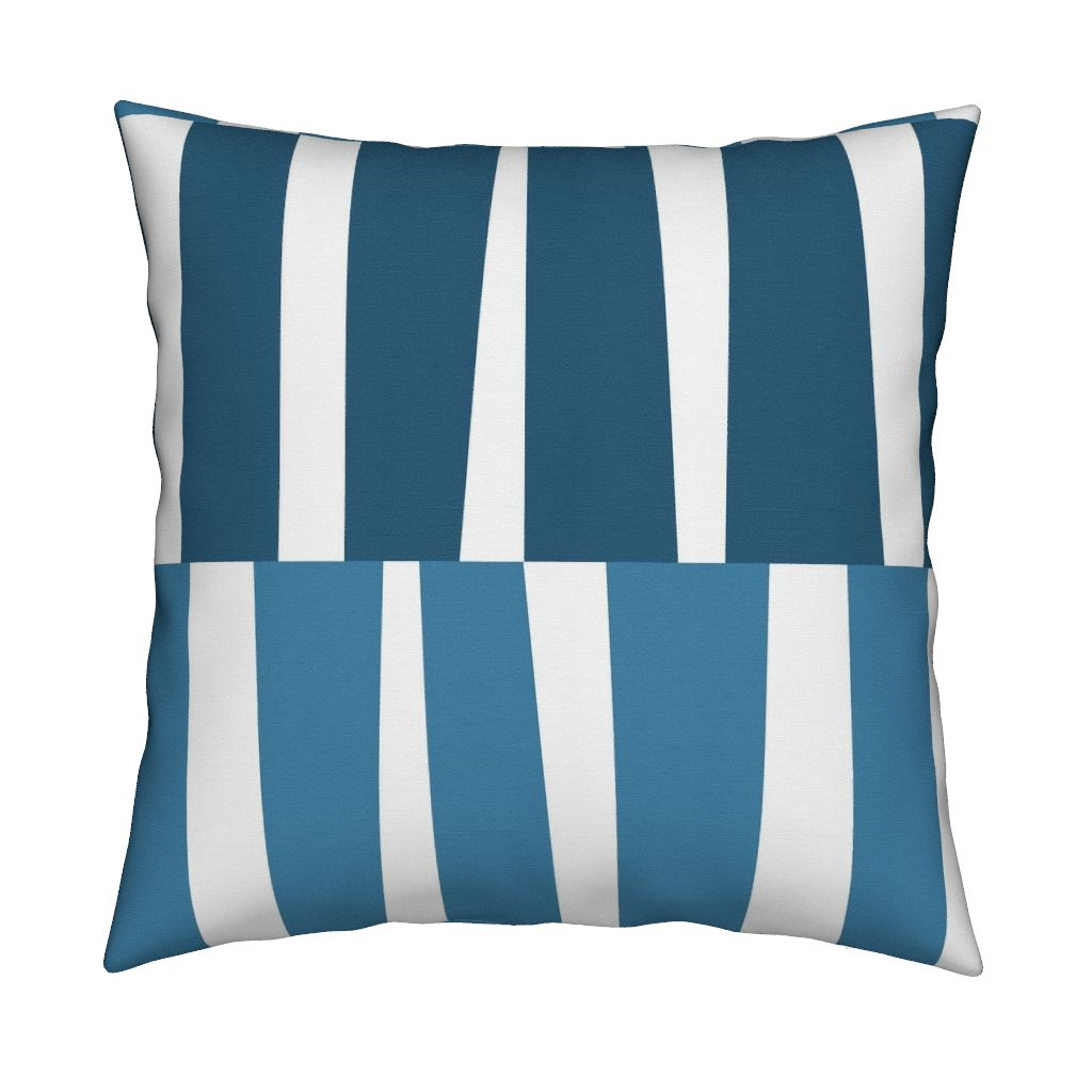 Modern Ocean: Strips (Blue) on pillow