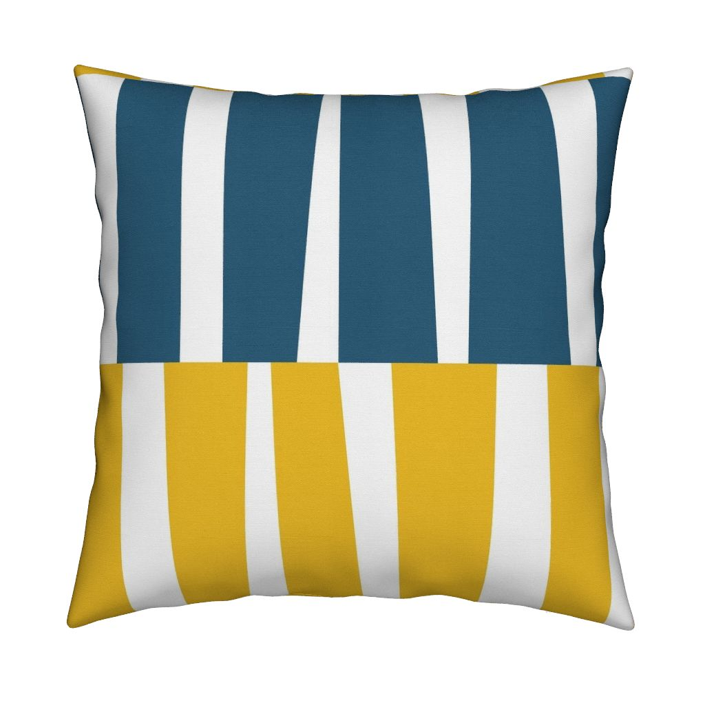 Modern Ocean: Strips (Yellow) on pillow